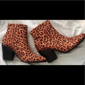New Cheetah-Print Suede Booties Ankle Boots 7